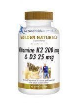 Golden Naturals Vitamine K2 200 mg D3 25 mcg 60 capsules gezondheidswebwinkel.nl
