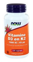 NOW Vitamine D3 1000IE en Vitamine K2 120 capsules gezondheidswebwinkel